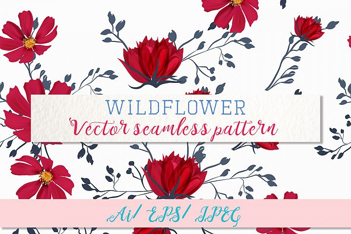 Wild field, vector seamless pattern 2