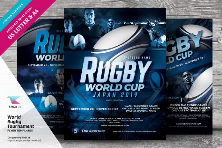 World Rugby Tournament Flyer Templates