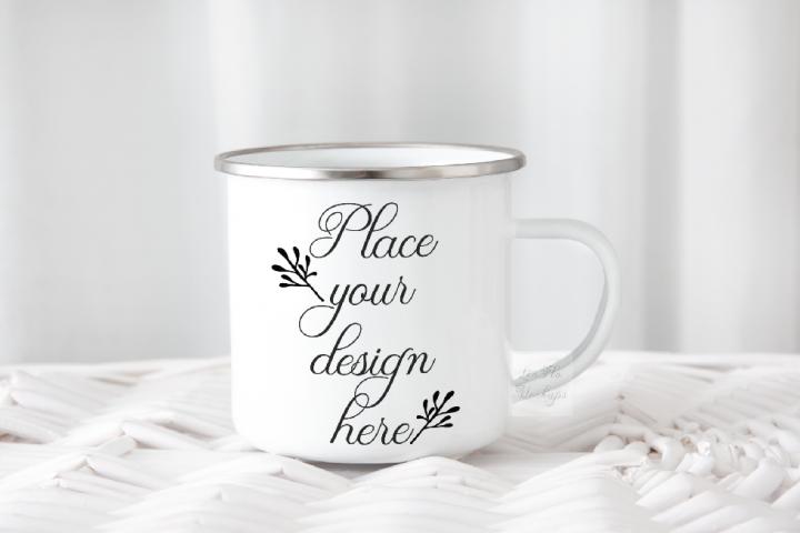 Camping tin mug mockup enamel cup mock up psd smart object