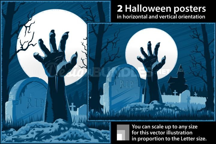 Vector Zombie Hand Cemetery Halloween Vintage Background Horror Moon Poster