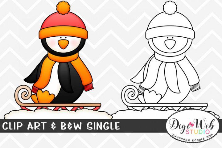Clip Art & B&W Single - Winter Penguin Sledding