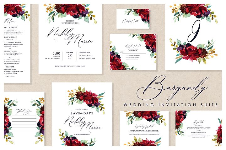 Burgundy - Wedding Invitation Suite