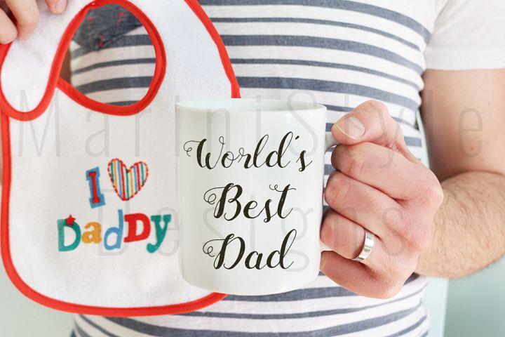 Man holding coffee mug & baby bib, best dad mug mockup, 388