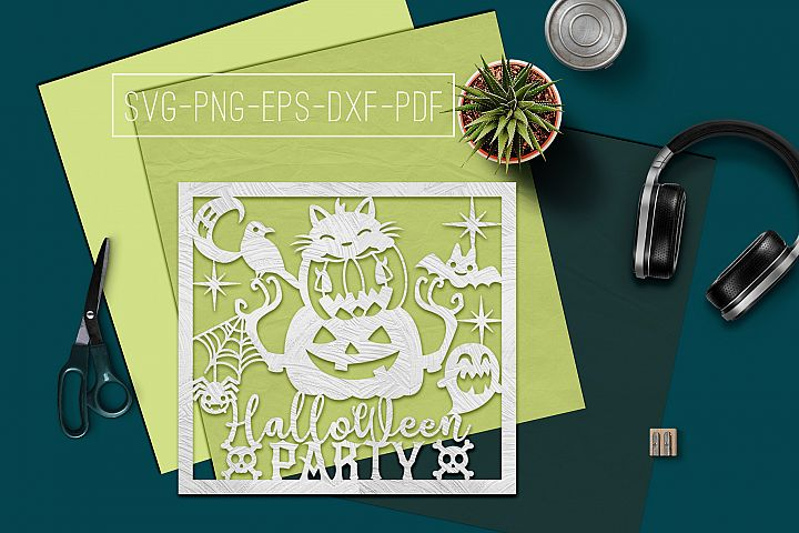 Halloween Party Papercut Template, Halloween Decor SVG, PDF