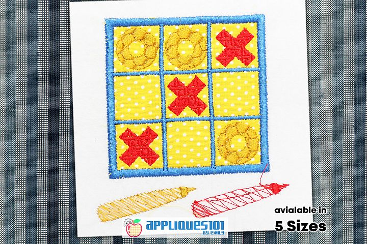 Tic Tac Toe Embroidery Applique Design - Games