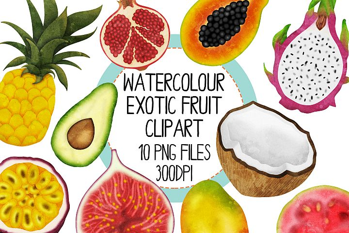 Watercolor Exotic Fruit Clip Art Set