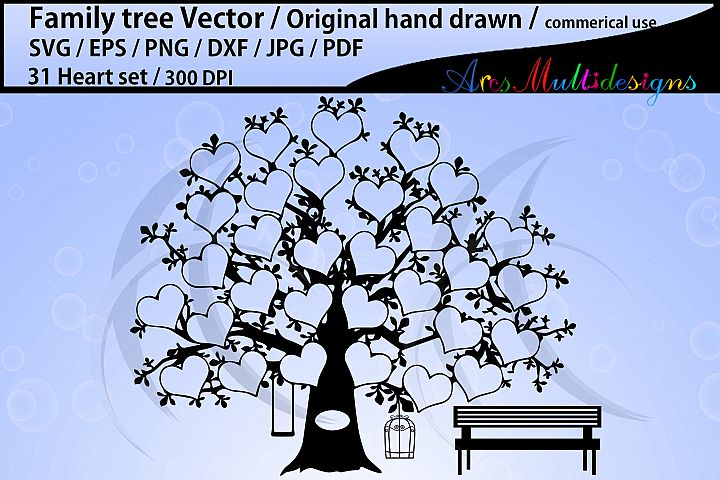31 hearts family tree vector / SVG, EPS, Dxf, Png, Pdf, Jpg