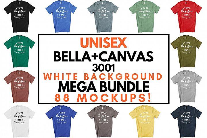 Unisex Bella Canvas 3001 T-Shirt Mockup Bundle On White