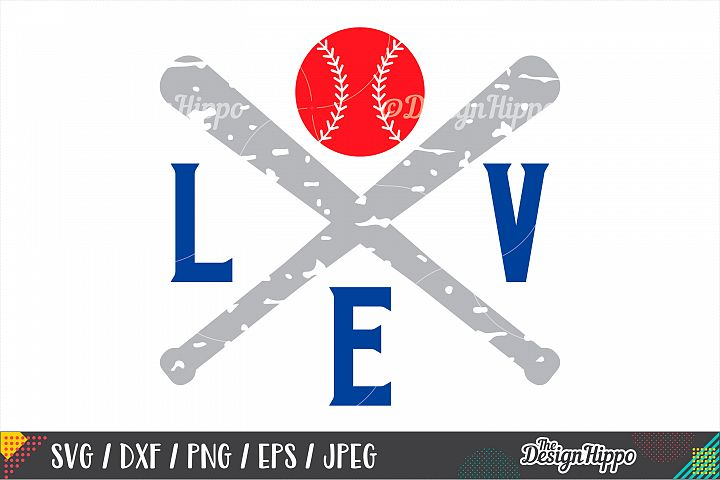 Love Baseball SVG, Grunge SVG, Baseball Mom SVG, DXF PNG EPS