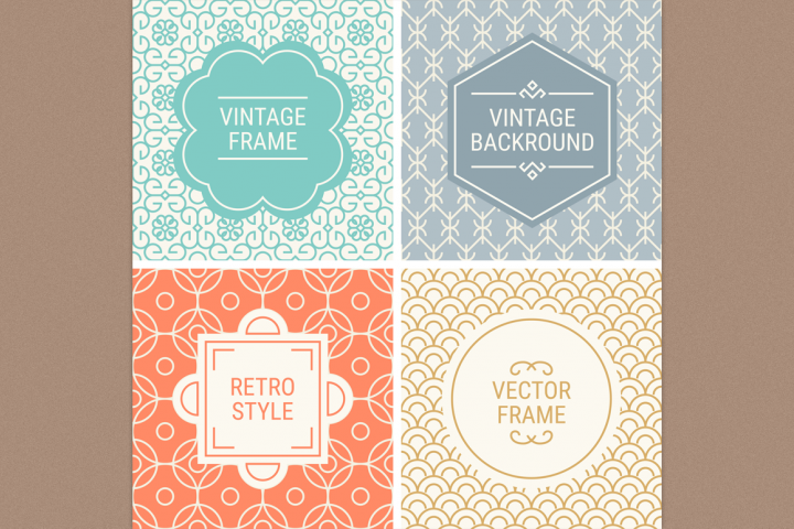 Mono Line Frames and Patterns - Set 5