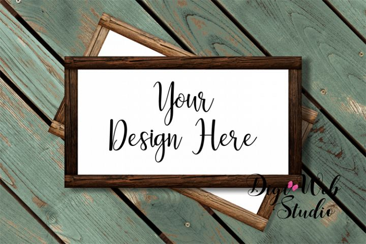 Flat Lay Wood Signs Mockup - Stacked Rectangle Wood Frames