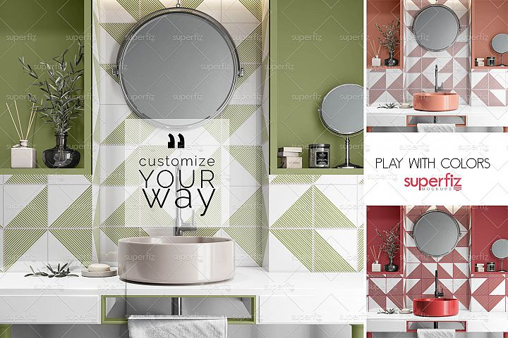 Wall Bathroom Mockup PSD SM105