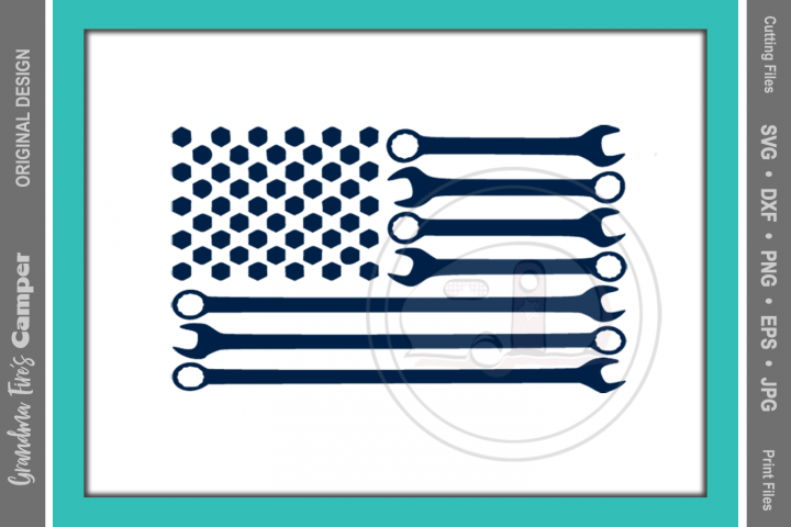 American Flag SVG, Wrench Flag, Mechanic