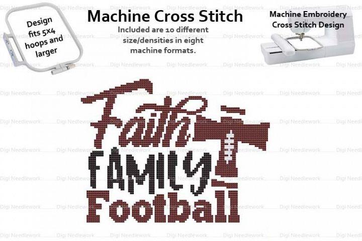 Faith Family Football 4x5 Hoop Mach Embroidery Cross Stitch