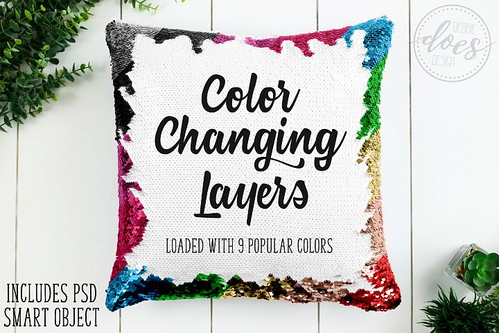 Color Changing Sequin Pillow Mockup with Smart Object