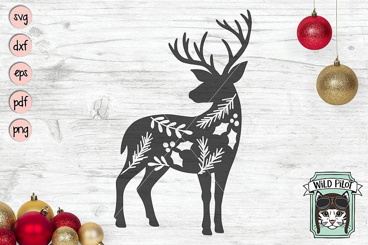 Christmas Deer svg file, Reindeer cut file, Winter Leaves