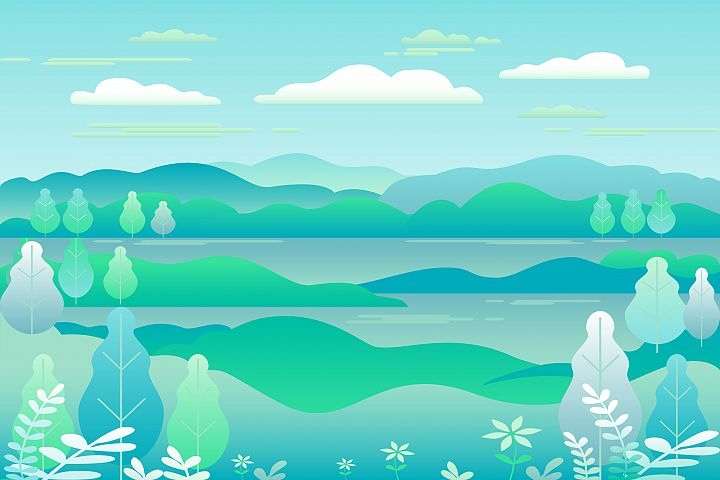Hills and mountains, river landscape in flat style design