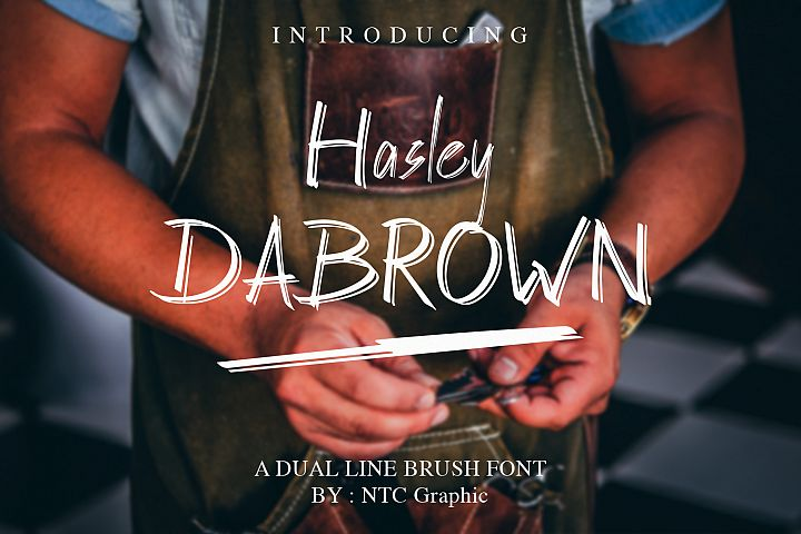 Hasley Dabrown Dual line Handbrush Font