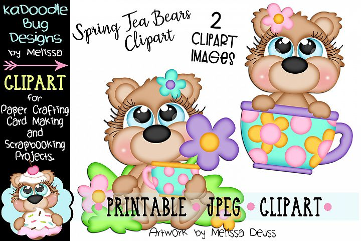 Spring Tea Bears Clipart - 2 JPEG Files