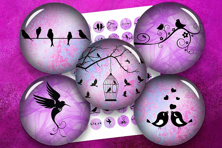 Silhouette Birds,Pink Birds,Purple Birds,Digital Collage
