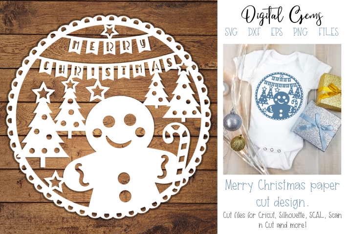 Christmas Gingerbread paper cut design SVG / DXF / EPS files