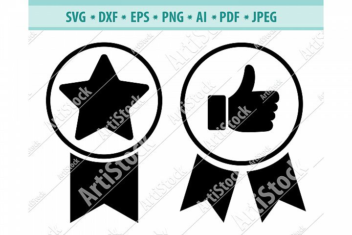 Medal with ribbon Svg, Winner svg, First place Dxf, Eps, Png