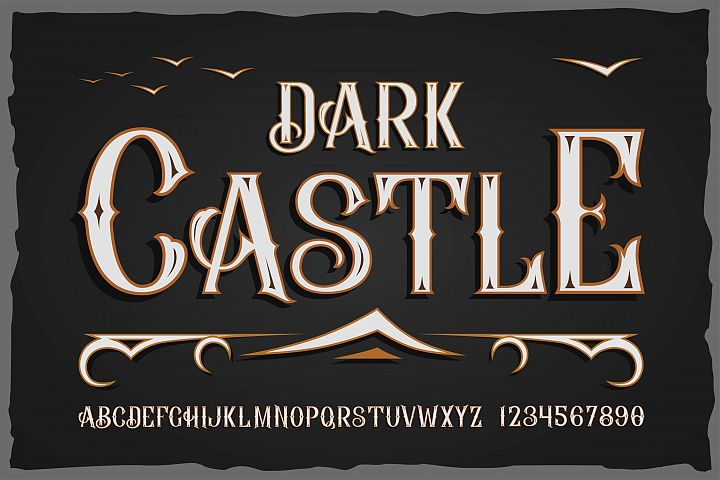 Dark Casrle OTF vintage label font. Uppercase only!