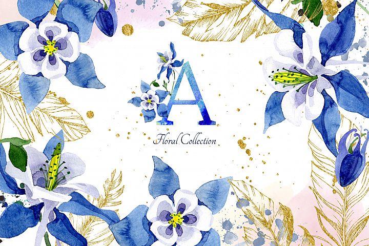 Watercolor flower Aquilegia blue png