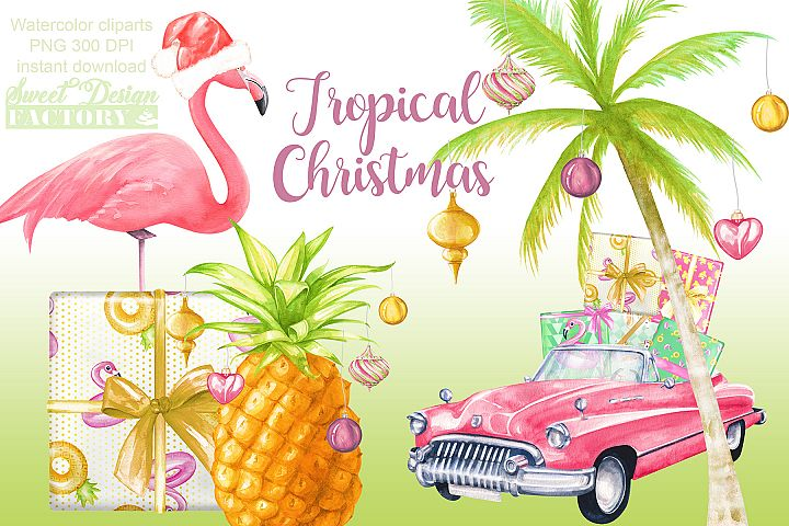 Watercolor tropical Christmas clipart