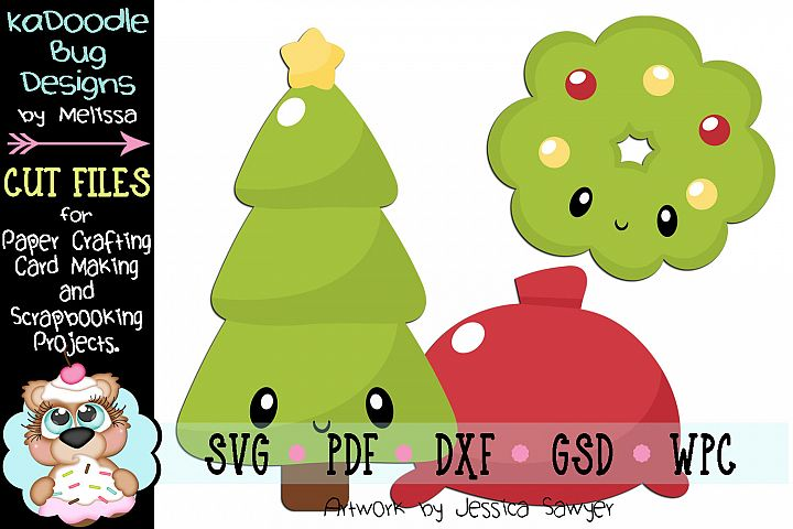 Kawaii Green Christmas Cut File - SVG PDF DXF GSD WPC