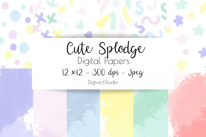 Cute Splodge - Digital Papers for Scrapbooking / Planners