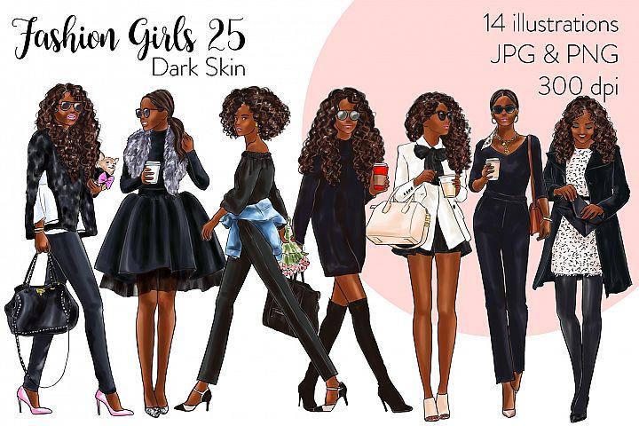 Fashion illustration clipart - Fashion Girls 25 - Dark Skin