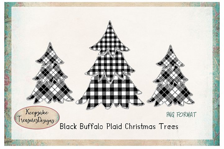 Black Buffalo Plaid Christmas Tress with Sliver Outline