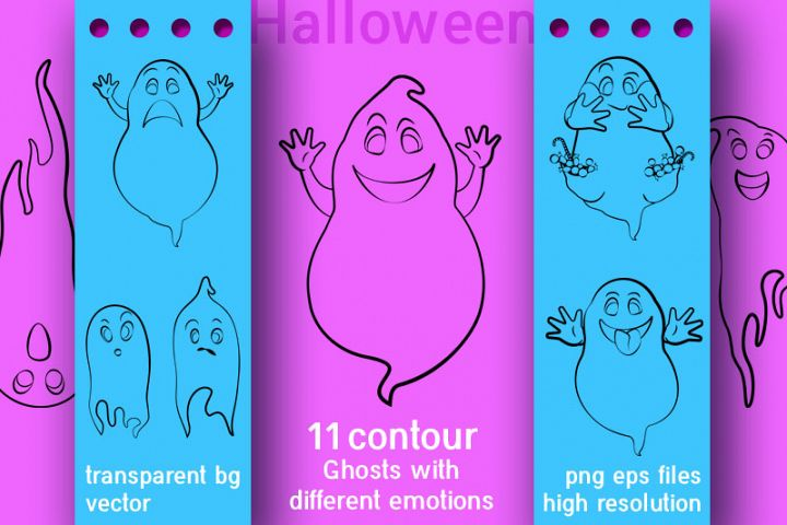 Ghosts outline vector set for halloween decoration.