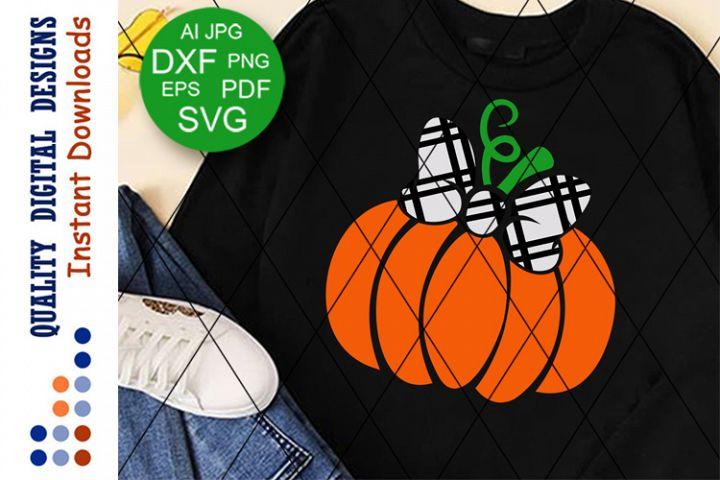 Girls Halloween svg Plaid Bow clipart Pumpkin