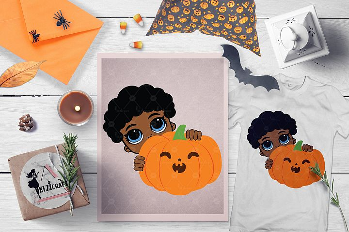 Halloween Afro Peeking Boy Pumpkin Smile SVG Cut File