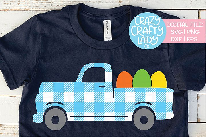 Gingham Easter Egg Truck Plaid SVG DXF EPS PNG Cut File