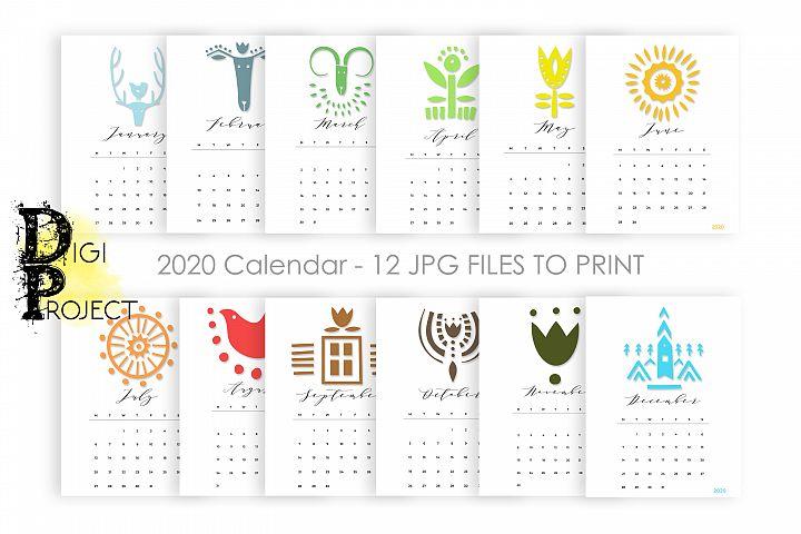 2020 Minimal Monthly Calendar Printable