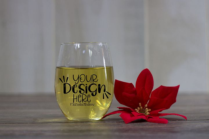 Winter Wine Glass Mockup, Styled Stock Photography