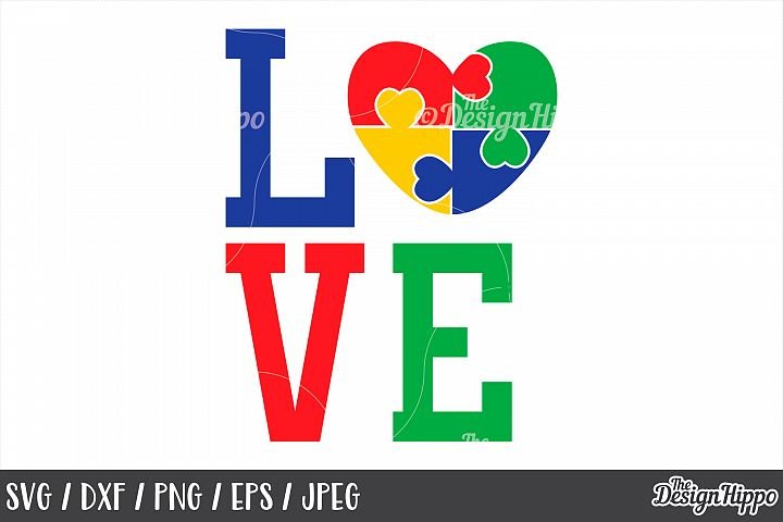 4a5fa6461f8 Love, Autism Heart, Puzzle Piece, SVG DXF PNG EPS Cut Files