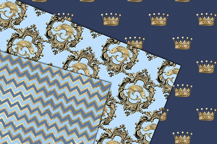 Blue and Gold Mermaid Digital Paper example 2