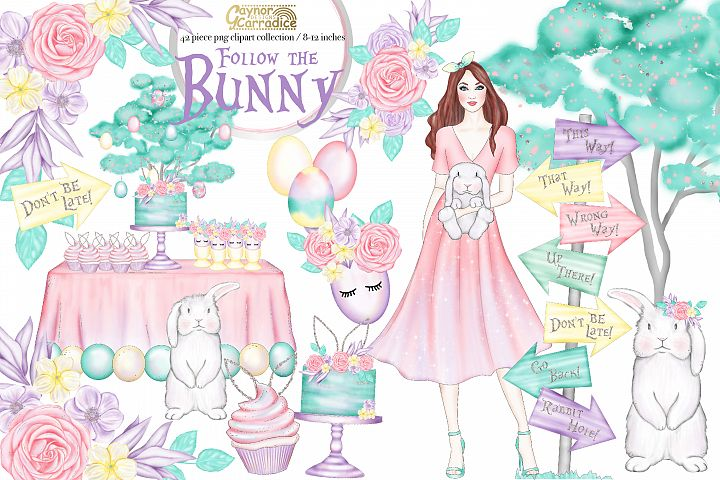 Follow the Bunny- watercolor Easter Clipart collection