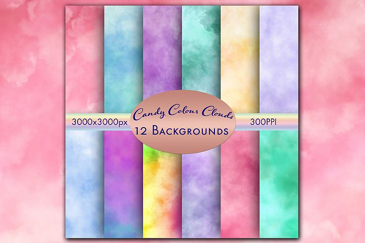 Candy Colour Clouds - 12 Background Images