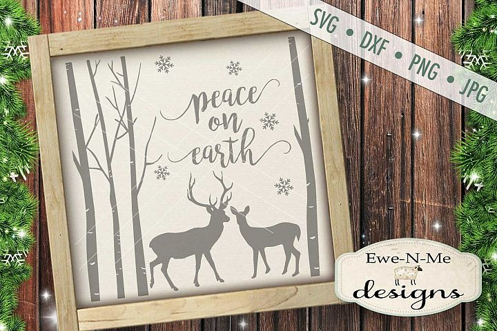 Peace on Earth Deer Woods SVG DXF Files