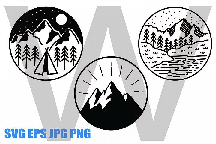 Mountains Line Drawing - SVG EPS JPG PNG