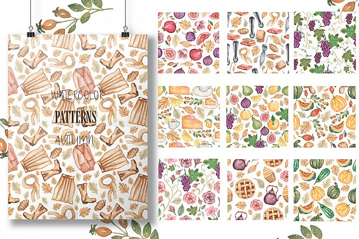 Watercolor Patterns Collection. Autumn.