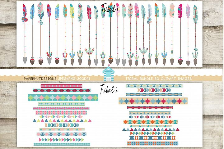 Tribal Arrows and Tribal Pattern Borders Clipart Bundle
