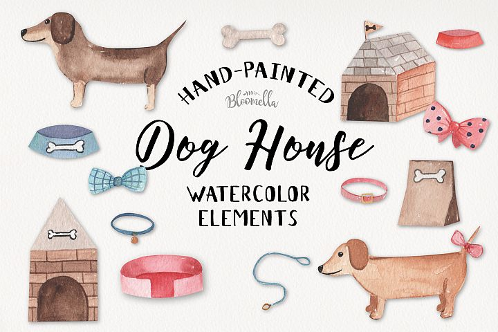 Dog House Watercolor 15 Elements Cute Hounds Bones
