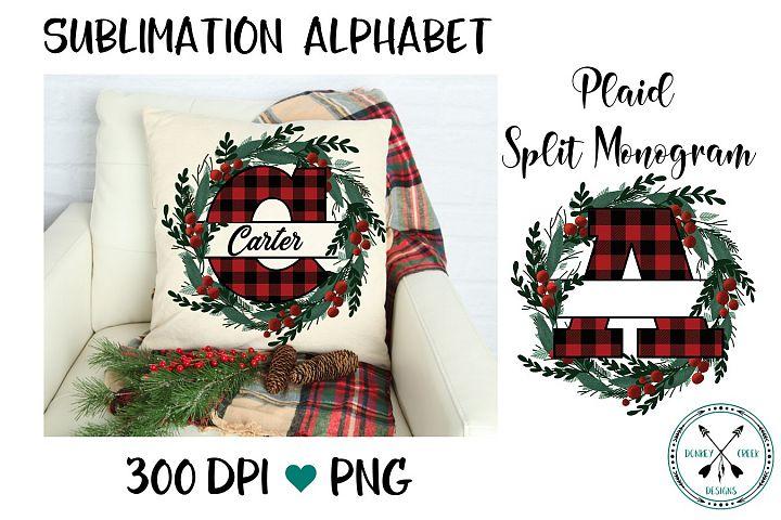 Plaid Split letter Wreath PNG Alphabet for Sublimation