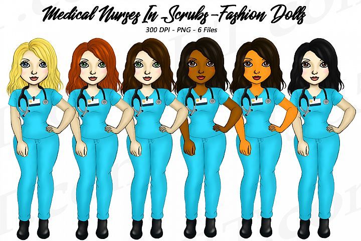 Beautiful Nurse Girls in Scrubs Clipart Fashion Dolls PNG